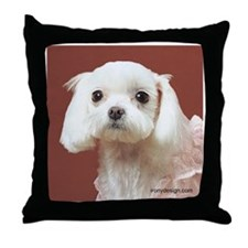 Maltese Dogs Photography Throw Pillow
