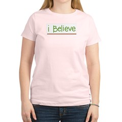 I believe (handwritten) Women's Pink T-Shirt