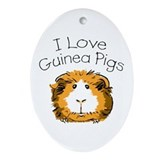 I Love Guinea Pigs Oval Ornament