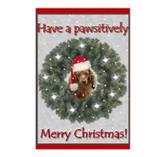 Christmas Dachshund in a Pine Wreath Postcards (Pa