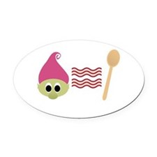 Troll Bacon Spoon Oval Car Magnet