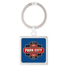 Park City Old Label Square Keychain