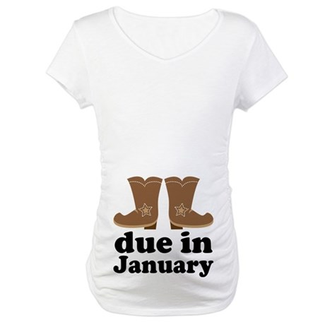 January Baby Cowboy Boots Maternity T-Shirt