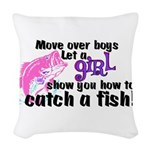 GIRLFISH.png Woven Throw Pillow