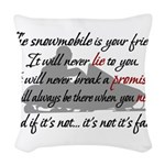Snowmobiling Woven Throw Pillow