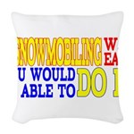 Easy Snowmobiling Woven Throw Pillow
