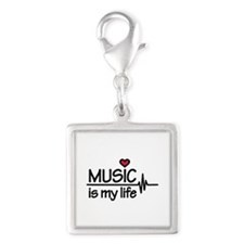 Music is my life heart Silver Square Charm