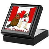 Happy Canada Day Pug and Beaver Keepsake Box