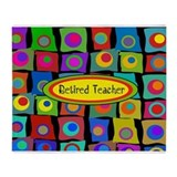 Retired Teacher Funky Squares Throw Blanket