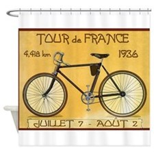 Tour de France, Bicycle, Vintage Poster Shower Cur