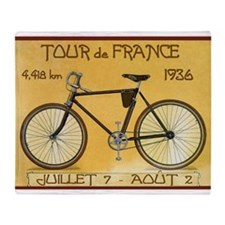 Tour De France, Bicycle, Vintage Throw Blanket