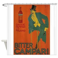 Bitter Campari, Beverage, Vintage Poster Shower Cu