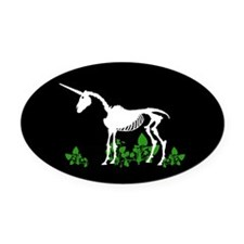 Unicorn Skeleton Oval Car Magnet