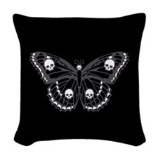 Gothic Skull Butterfly Woven Throw Pillow