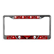Red Skull Butterfly License Plate Frame