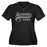 Awesome Since 1933 Women's Plus Size V-Neck Dark T