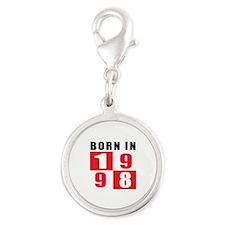 Born In 1998 Silver Round Charm