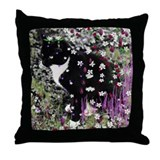 Freckles the Tux Kitty in Flowers I Throw Pillow