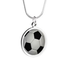 Soccer Girl Silver Round Necklace