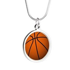 Basketball Girl Silver Round Necklace