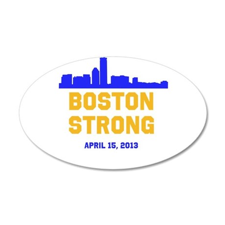Boston Strong Blue and Gold Skyline Wall Decal