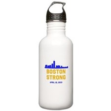 Boston Strong Blue and Gold Skyline Water Bottle