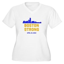 Boston Strong Blue and Gold Skyline Plus Size T-Sh