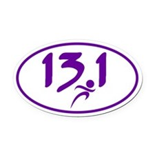 Purple 13.1 half-marathon Oval Car Magnet