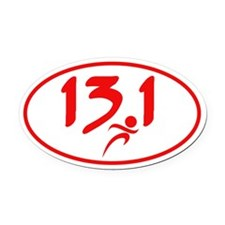 Red 13.1 half-marathon Oval Car Magnet
