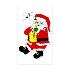 Santa Plays Sax Rectangle Decal