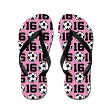 Soccer Ball Player Number 16 Flip Flops