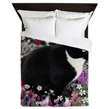 Freckles Tux Cat Flowers II Queen Duvet