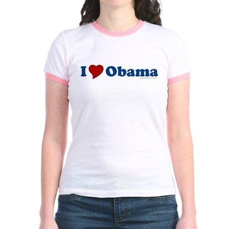 I Love Barack Obama Jr Ringer T-Shirt