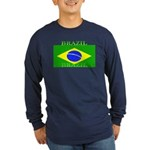 Brazil Brazilian Flag Long Sleeve Blue T-Shirt