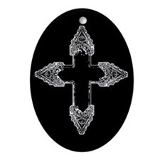 Ornate Gothic Cross Ornament (Oval)