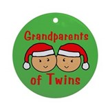Grandparents Twins Hats Christmas Ornament (Round)