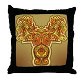 Golden Quetzalcoatl Throw Pillow