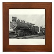 Locomotive Black & White Trains Framed Tile