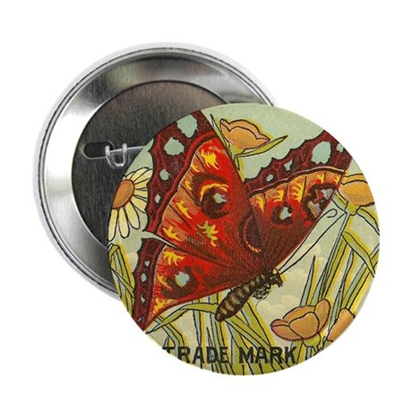 "Butterfly Vintage Label Antiq 2.25"" Button (10 pac"