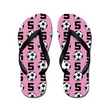Soccer Ball Player Number 5 Flip Flops
