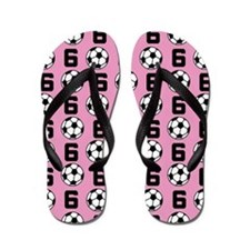 Soccer Ball Player Number 6 Flip Flops