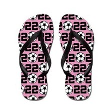 Soccer Ball Player Number 22 Flip Flops