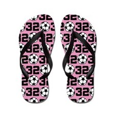 Soccer Ball Player Number 32 Flip Flops