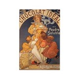 Mucha Chocolate Art Nouveau Label Rectangle Magnet