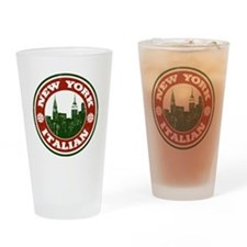 New York Italian American Drinking Glass