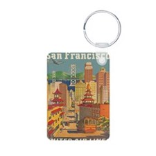 San Francisco, Travel, Vintage Poster Keychains
