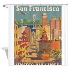 San Francisco, Travel, Vintage Poster Shower Curta