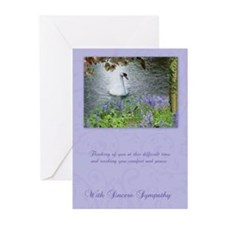 Swan Sympathy Greeting Card In Purple (Pk of 20)