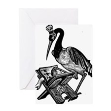 Reading Stork Greeting Card