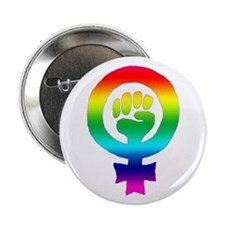 Rainbow Feminist Button